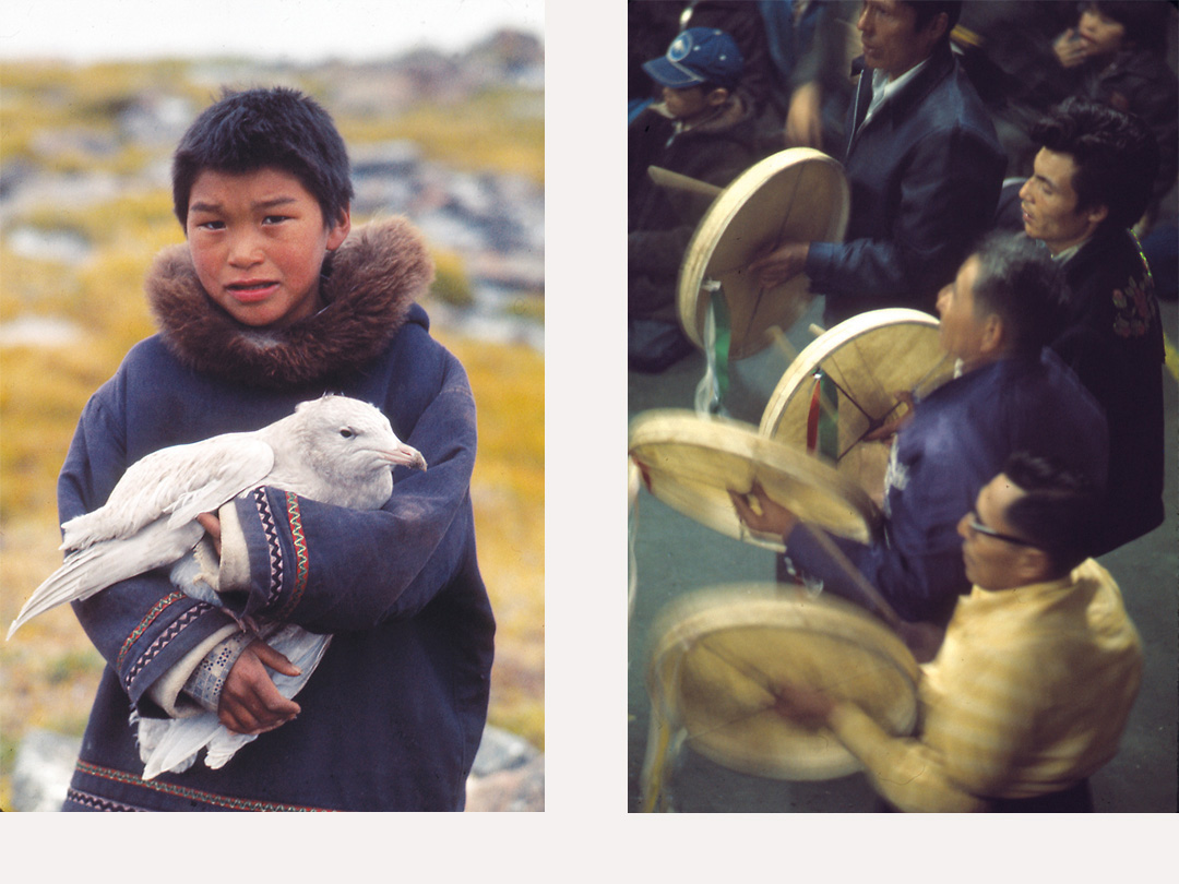 Inuit boy, Dene drummers, northern Canada